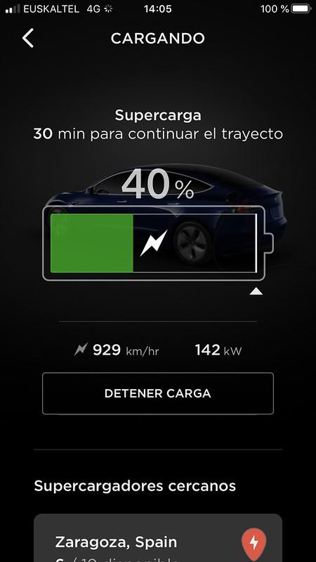 Nuestro récord de carga del Tesla Model 3: 142 kW en el SuC de Zaragoza con baterías calientes de un viaje desde el SuC de Valencia.