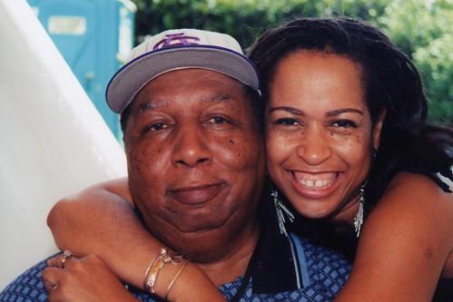 Bob French & Samirah Evans at WWOZ's Jazz Fest broadcast. Photo courtesy of Samirah Evans.