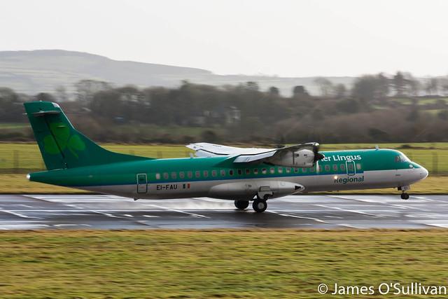 Aer Lingus Regional / Stobart Air ATR72-600 EI-FAU landing on RWY25