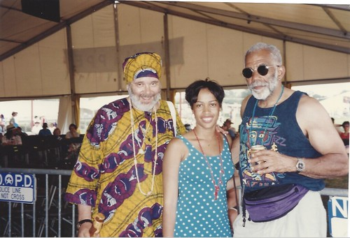Ice Cube Slim, Samirah Evans, and Ed Bradley in the WWOZ Jazz Tent at Jazz Fest. Photo courtesy of Samirah Evans.