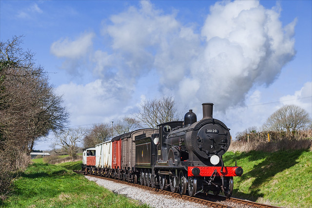 A T9 hauled short goods train heads for Swanage