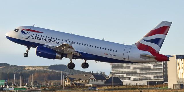 British Airways A319-131 G-EUPS. Airborne RWY 16 Aberdeen Airport.