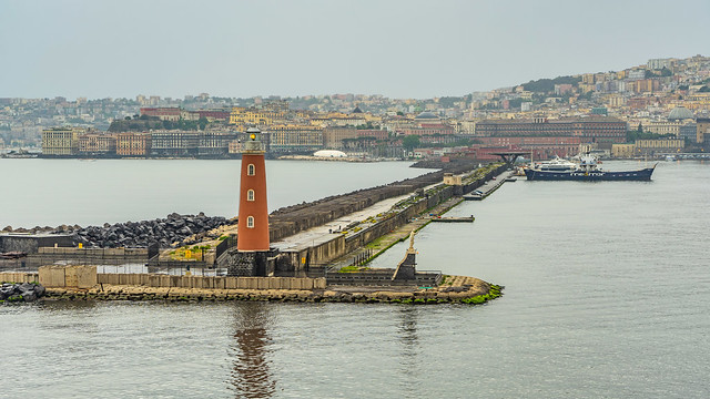 Molo San Vincenzo Lighthouse, Port of Naples, Italy