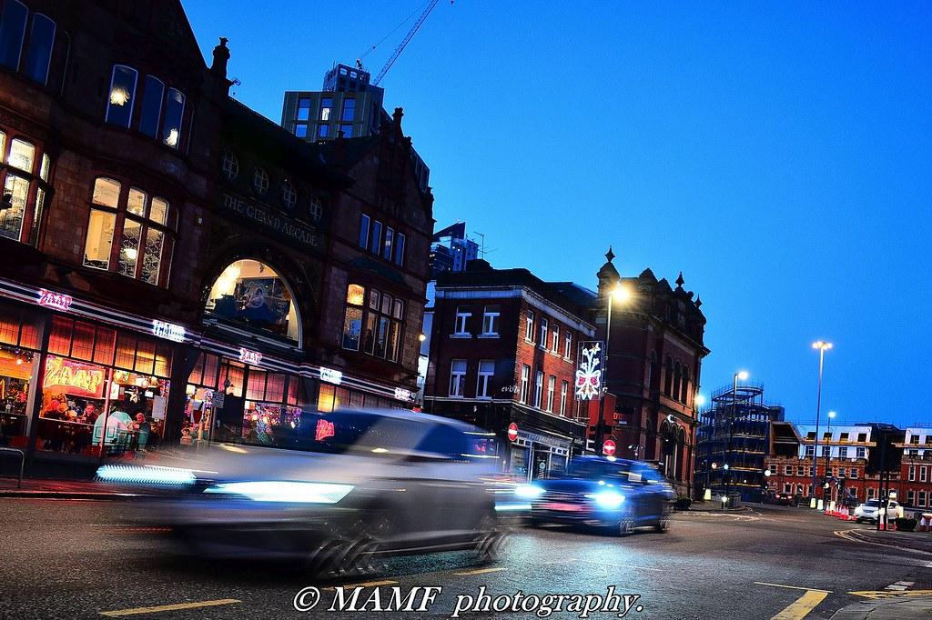 Vicar lane Leeds traffic motion blur.