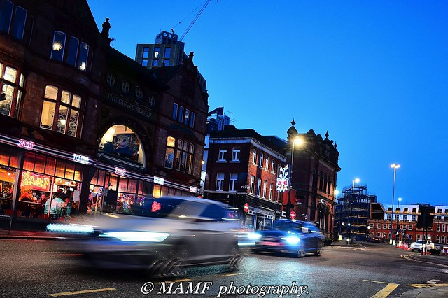 Vicar lane Leeds traffic motion blur.