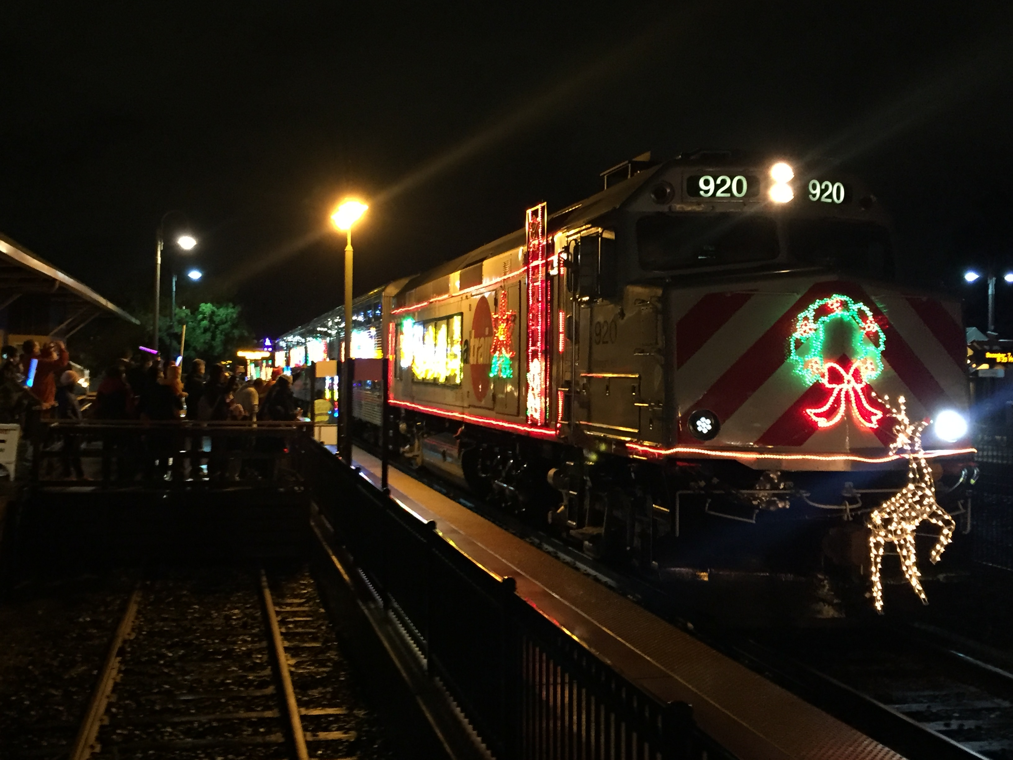 Caltrain Holiday Train, with unit 920, Morgan Hill, as the lead locomotive