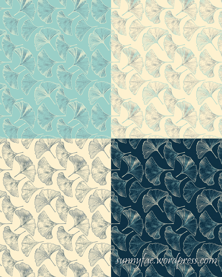1 ginkgo pattern 4 colour-ways