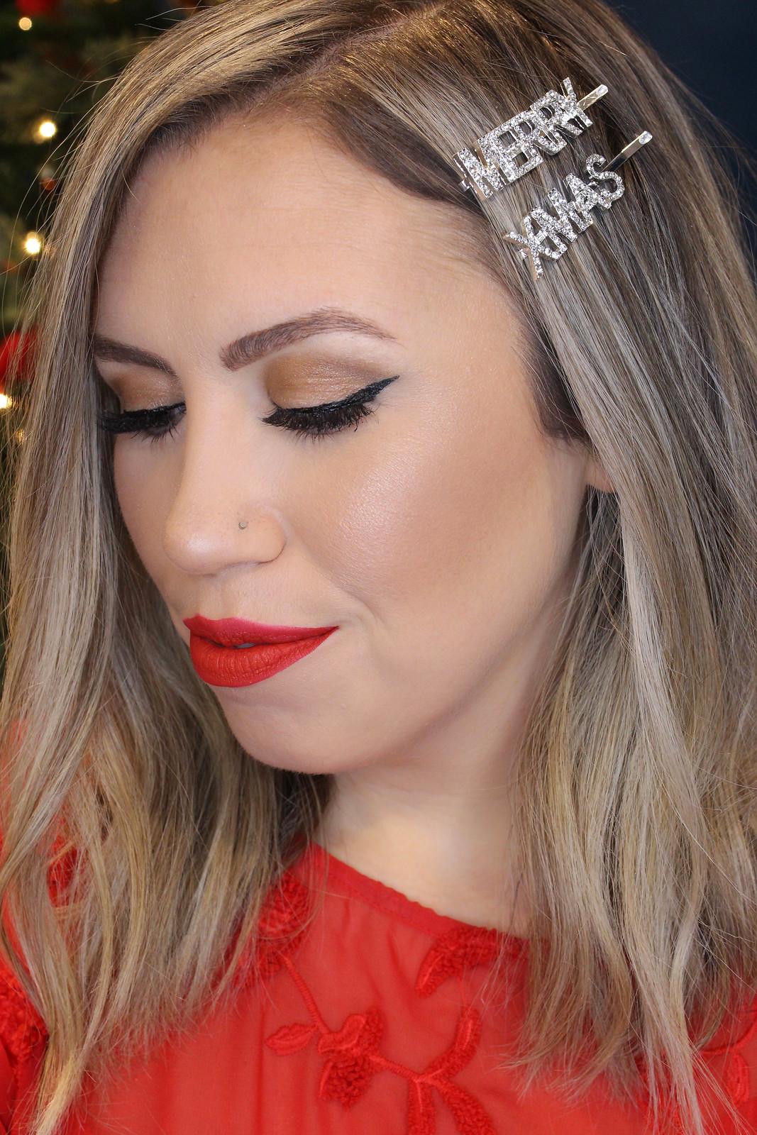 Matte Red Lipstick Nude Eyeshadow Cat Eyeliner Holiday Makeup Tutorial
