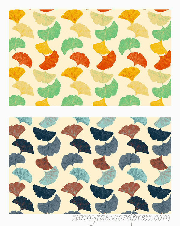 lines of ginkgo 2 colour ways