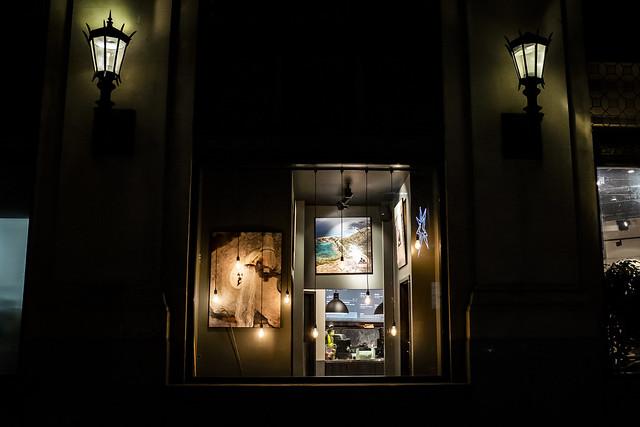 tastefully arranged lightbulbs in a window.