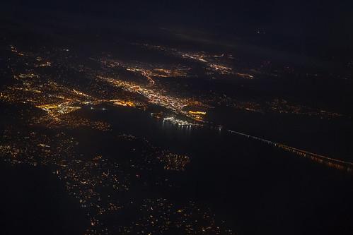 aerial night citylights marincounty sanrafael novato tiburon california richmondsanrafaelbridge