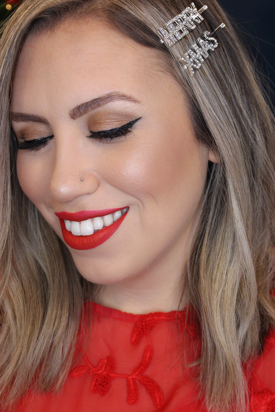 Step by Step Holiday Makeup Tutorial Red Matte Lipstick Cat Eye