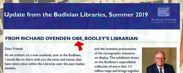 """BODLEIAN LIBRARIES NEWSLETTER 2019""の一部"