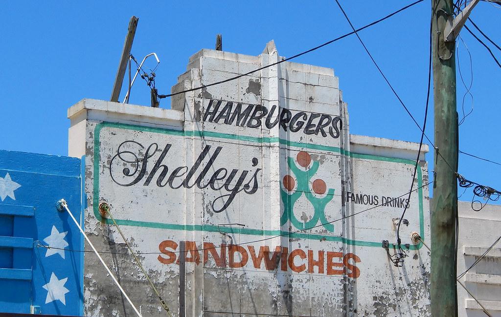 Old Shelley's drinks sign, Shops, Sydenham, Sydney, NSW.