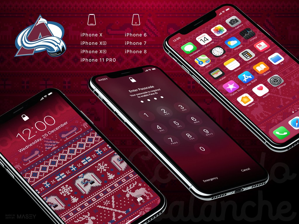 "Colorado Avalanche Christmas ""Ugly Sweater"" iPhone Wallpaper"