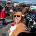Reindeer selfie in a 7-11 parking lot crowded with santas
