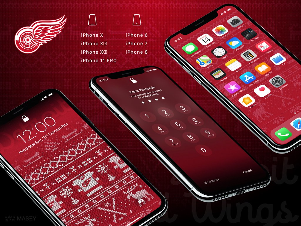 "Detroit Red Wings Christmas ""Ugly Sweater"" iPhone Wallpaper"