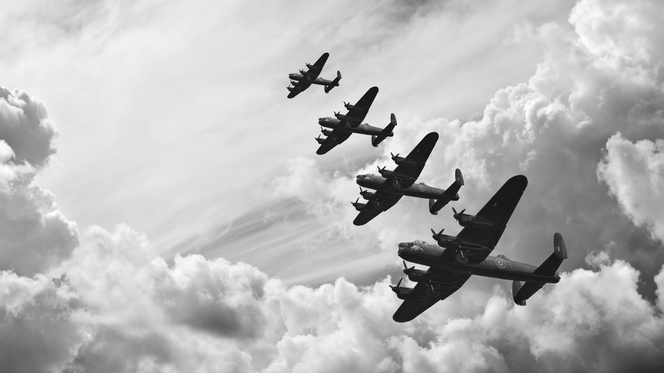 World war 11 bomber planes flying overhead