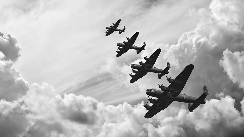 World war two bomber planes flying overhead