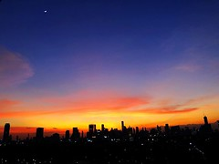 #sunset :sunrise: with #moon :moon: over #bangkok :city_night: