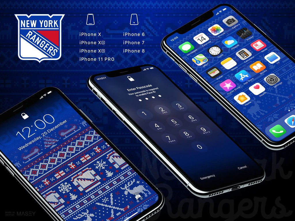 "New York Rangers Christmas ""Ugly Sweater"" iPhone Wallpaper"