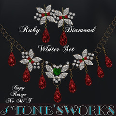 RUBY DIAMOND NECKLACE EARRING SET