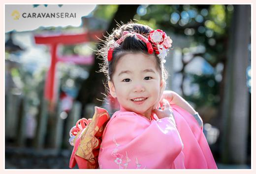 川原神社で七五三の出張撮影(名古屋市昭和区) 日本髪がみごとな3歳の女の子