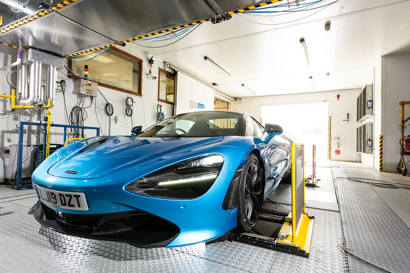 McLaren car being tested in chassis dynamometer