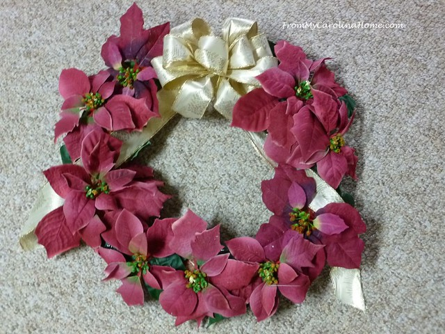 Poinsettia Wreath at FromMyCarolinaHome.com