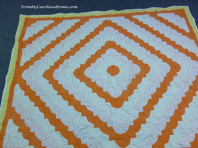 Orange Trip Around the World Quilt Repair at FromMyCarolinaHome.com