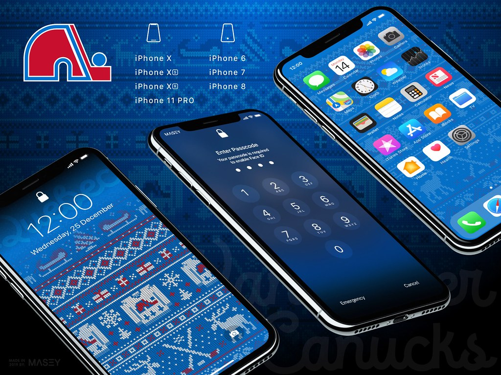 "Quebec Nordiques Christmas ""Ugly Sweater"" iPhone Wallpaper"