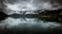 Lake Bled coverd under a blanket of clouds