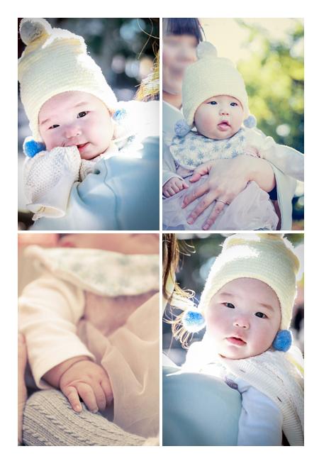 女の子赤ちゃん 12月 冬  コーデ 白い帽子をかぶってお出かけ