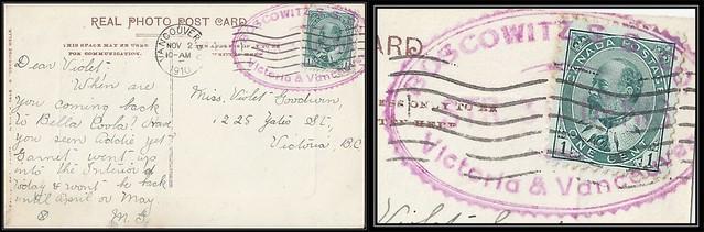 British Columbia / Steamship Postal History - 2 November 1910 - Bella Coola, B.C. / BOSCOWITZ S.S. Co. / STR. ST. DENIS to Victoria, B.C. via Vancouver, B.C. (S-101a)