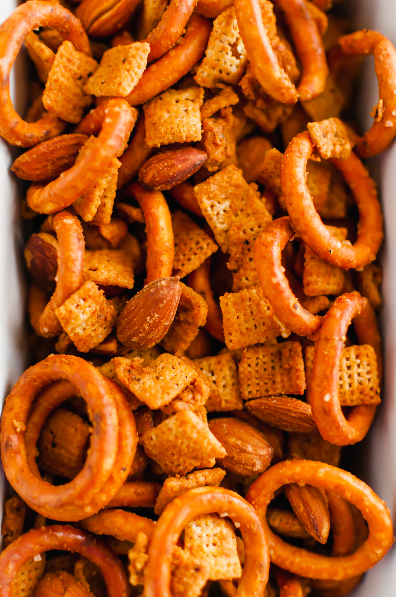 Spicy Chex Mix close up.