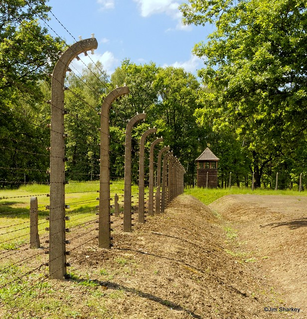 Auschwitz Birkenau fence and watchtower