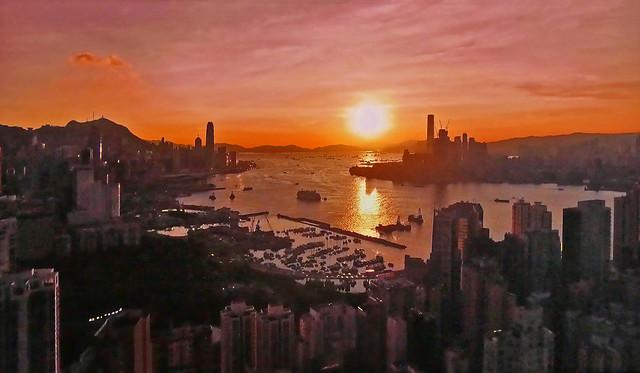 China - Hong Kong Harbor at sunset