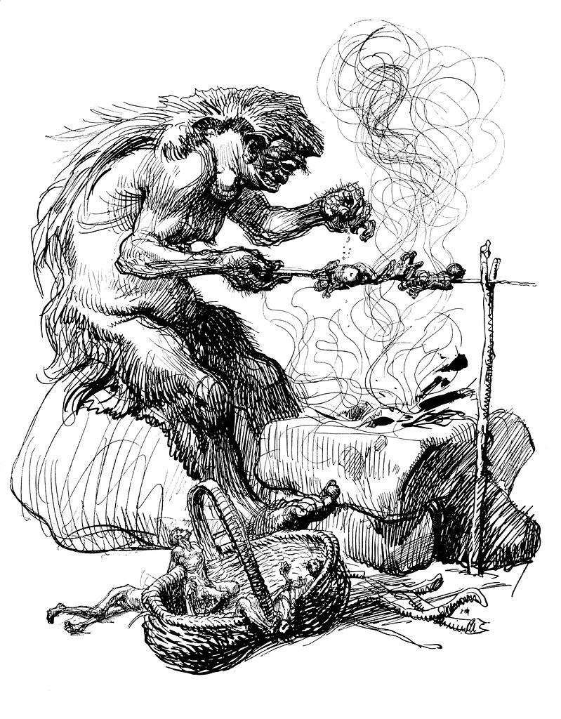 Heinrich Kley - Human Shish Kebab