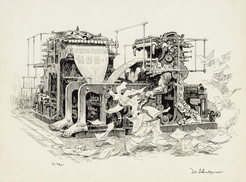 Heinrich Kley - High-Speed Printing Press, 1910