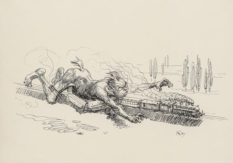 Heinrich Kley - Daemonic Derailment, 1909