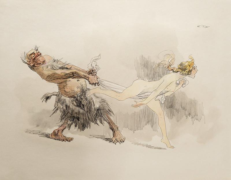 Heinrich Kley - Caught, 1910