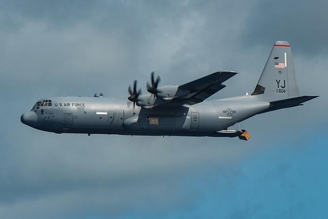 A C-130J Super Hercules drops a Low-Cost, Low-Altitude bundle as part of Operation Christmas Drop 2019