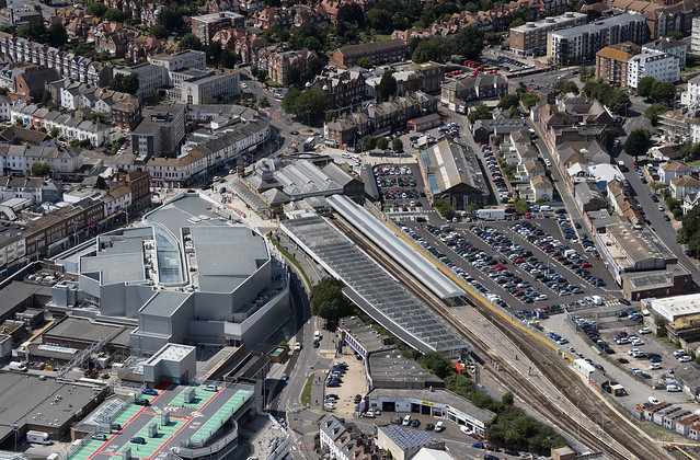 Eastbourne railway station aerial image
