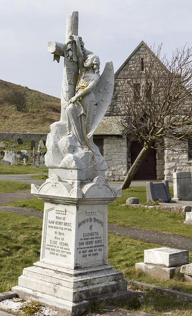Grave memorial, Great Orme cemetery, Llandudno, Conwy, North Wales, UK