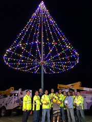 Hawaiian Electric Revives Tree Lighting Tradition at Puu o Kaimuki Mini Park — Dec. 5, 2019: Our employee volunteers posed for a photo after they were done with the tree lit in the background.