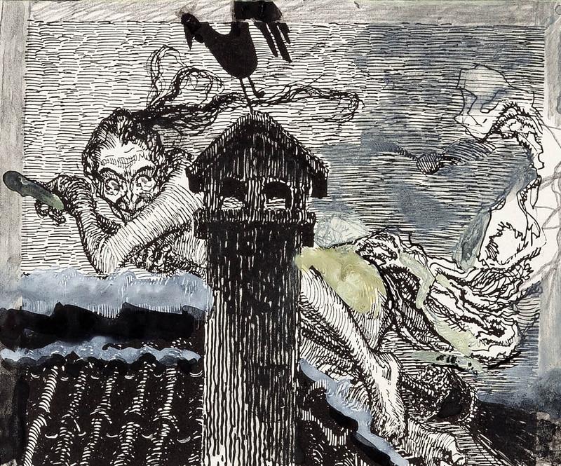 Heinrich Kley - Witch Sketch
