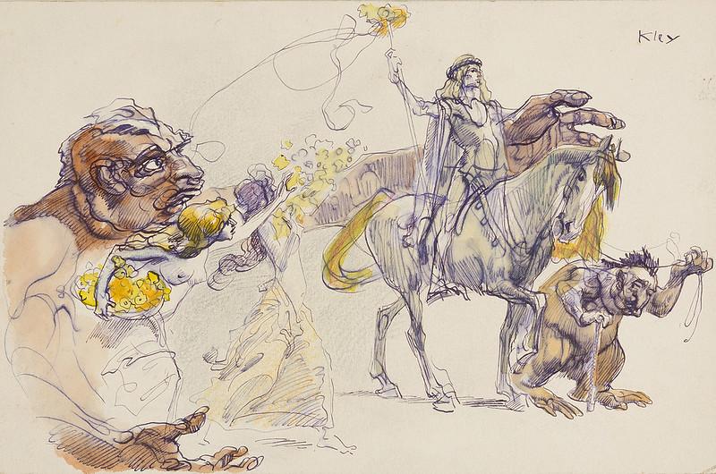 Heinrich Kley - Reiter mit Fabelwesen