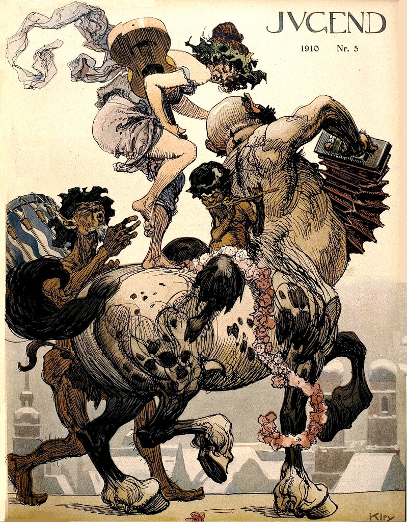 Heinrich Kley - Cover design 'Antiker Faschingsumzug nach München' (classical carnival procession to Munich), Vol. 15, Jugend, No. 5, p.97, of the Carnival Special, January 29.