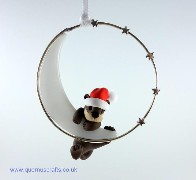 Little Santa Otter on Glass Moon