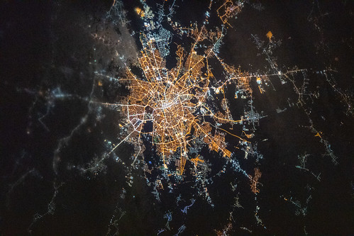 The brightly lit capital city of Bucharest, Romania